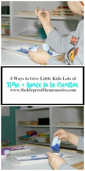Because the little guy loves to get messy. Because this mama believes in giving little kids lots of time + space to be creative. And because making stuff is so important for so many reasons. Think creativity and problem-solving, to name a few. Here are 3 ways to give little kids lots of time + space to be creative. Check it out!
