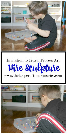 preschooler stringing beads on pipe cleaners with text overlay: Wire Sculpture Invitation to Create Process Art