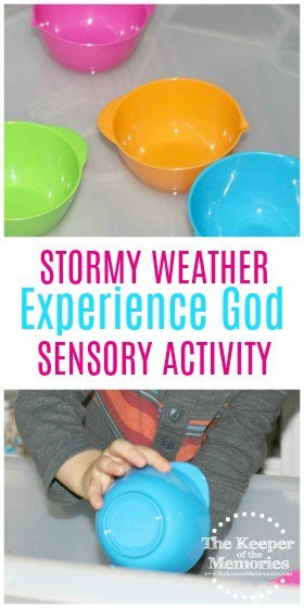 collage of Stormy Weather activity images with text overlay: Stormy Weather Experience God Sensory Activity