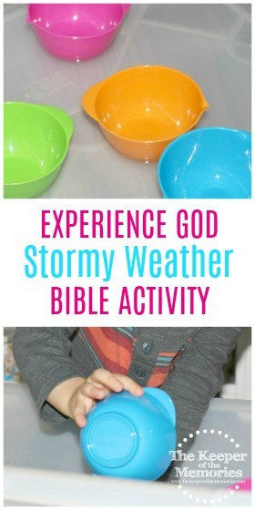 collage of Stormy Weather activity images with text overlay: Experience God Stormy Weather Bible Activity