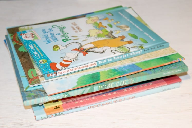 stack of pond picture books for preschoolers