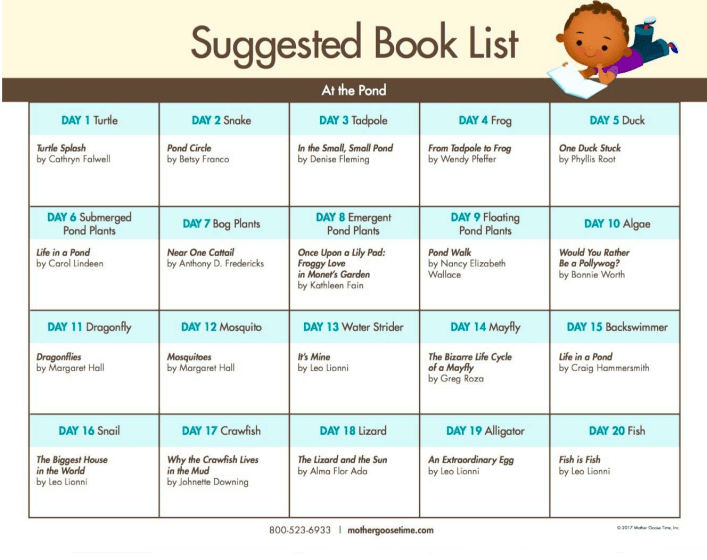 Suggested Book List Pond Theme
