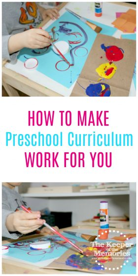 collage of preschool process art images with text overlay: How To Make Preschool Curriculum Work For You