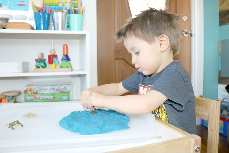 preschooler playing with frog life cycle figurines in blue sand