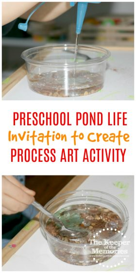 pond process art collage with text overlay: Preschool Pond Life Invitation to Create Process Art Activity
