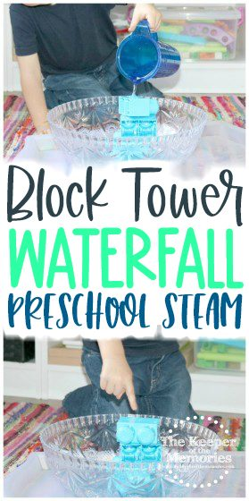 collage of waterfall activities with text: Block Tower Waterfall Preschool STEAM
