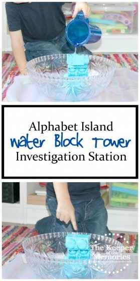 water block tower images with text overlay: Alphabet Island Water Block Tower Investigation Station