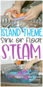 collage of sink or float images with text: Island Theme Sink or Float STEAM