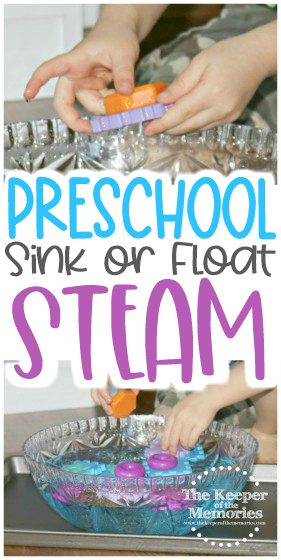 collage of sink or float images with text: Preschool Sink or Float STEAM