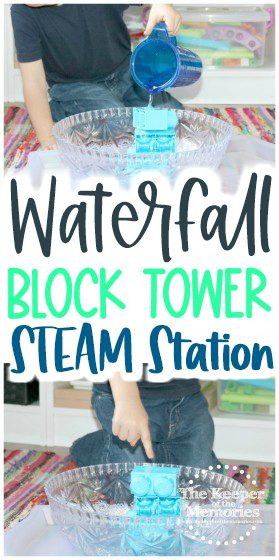 collage of waterfall activities with text: Waterfall Block Tower STEAM Station