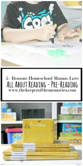 collage of reading curriculum images with text overlay: 5 Reasons Homeschool Mamas Love All About Reading - Pre-Reading