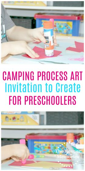 collage of campsite process art activities with text overlay: Camping Process Art Invitation to Create for Preschoolers
