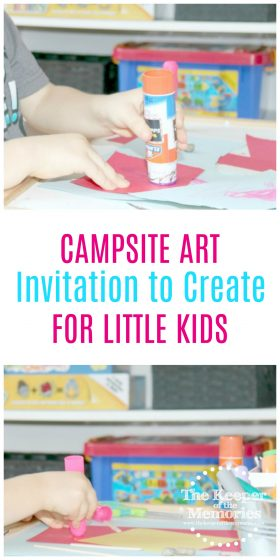 collage of campsite process art activities with text overlay: Campsite Art Invitation to Create for Little Kids