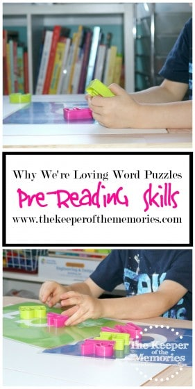 We're loving word puzzles for building pre-reading skills in our preschool homeschool. It's so awesome to see my 3 year old building words and trying to sound them out. It definitely makes my mama heart melt! <3