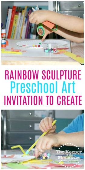 collage of rainbow sculpture images with text overlay: Rainbow Sculpture Preschool Art Invitation to Create