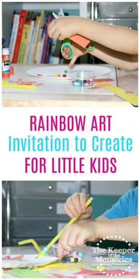 collage of Rainbow Sculpture images with text overlay: Rainbow Art Invitation to Create for Little Kids