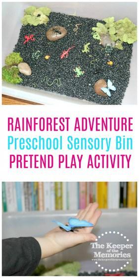 Rainforest Floor Sensory Bin with text overlay: Rainforest Adventure Preschool Sensory Bin Pretend Play Activity