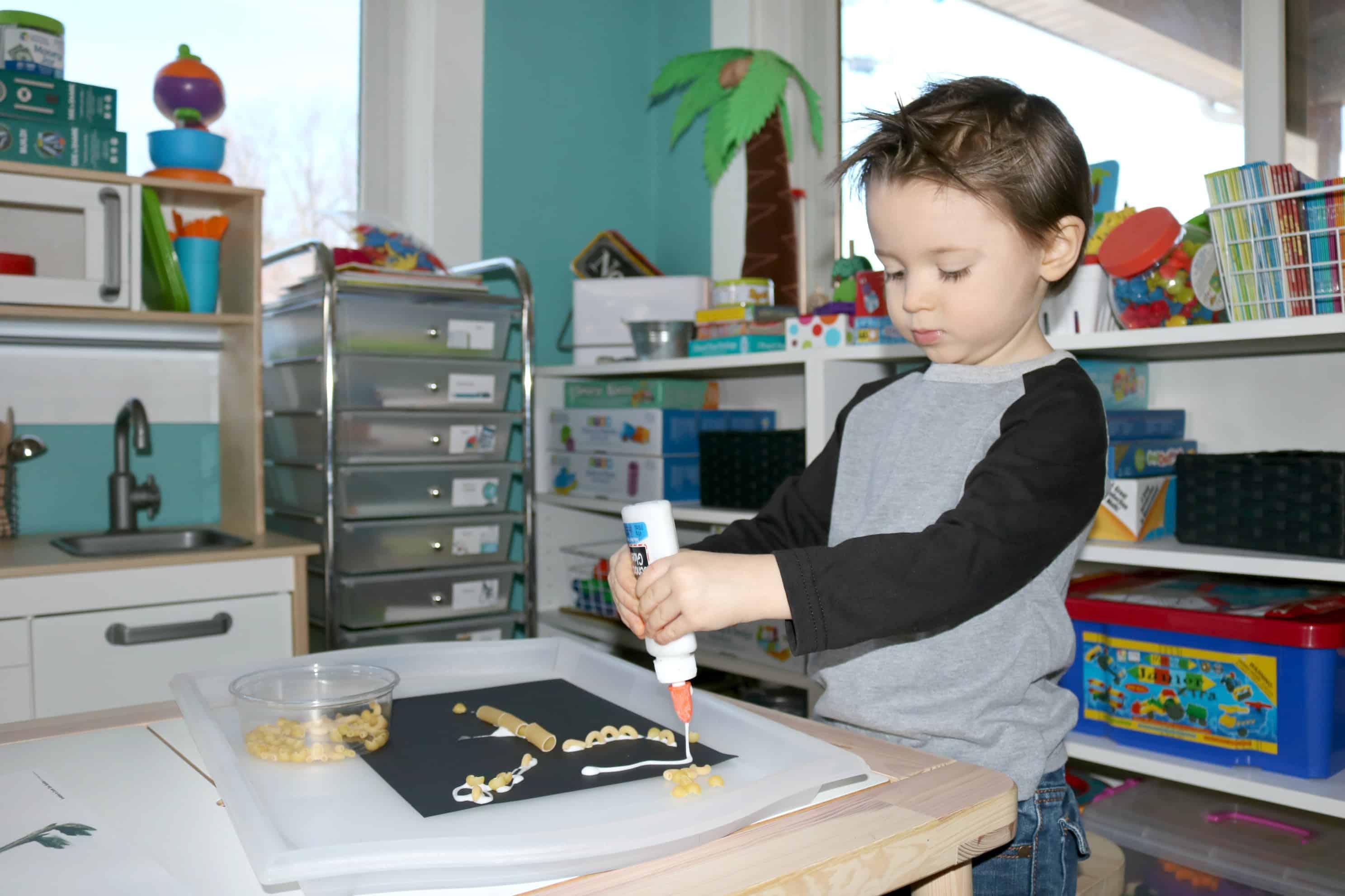 Dinosaur Skeleton Invitation to Create Process Art Experience for Preschool Paleontologists