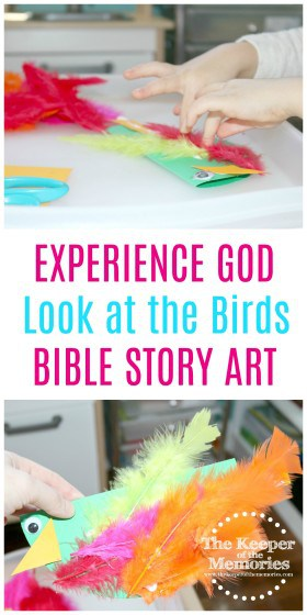 collage of bird craft images with text: Experience God Look at the Birds Bible Story Art