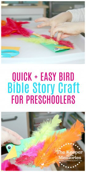 collage of bird craft images with text: Quick & Easy Bird Bible Story Craft for Preschoolers