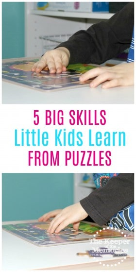 Puzzles are really important for little kids. There are so many awesome skills they learn including problem solving. Here's a list of 4 more too! #puzzles #preschoolers