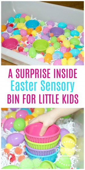 Bright + colorful Easter sensory activity for little kids. This is all kinds of awesome! Check it out! #easter #sensory