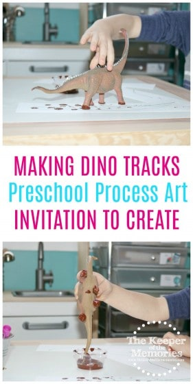 So much fun for little kids! Easy dinosaur art... Making dino prints. #preschool #dinosaurs