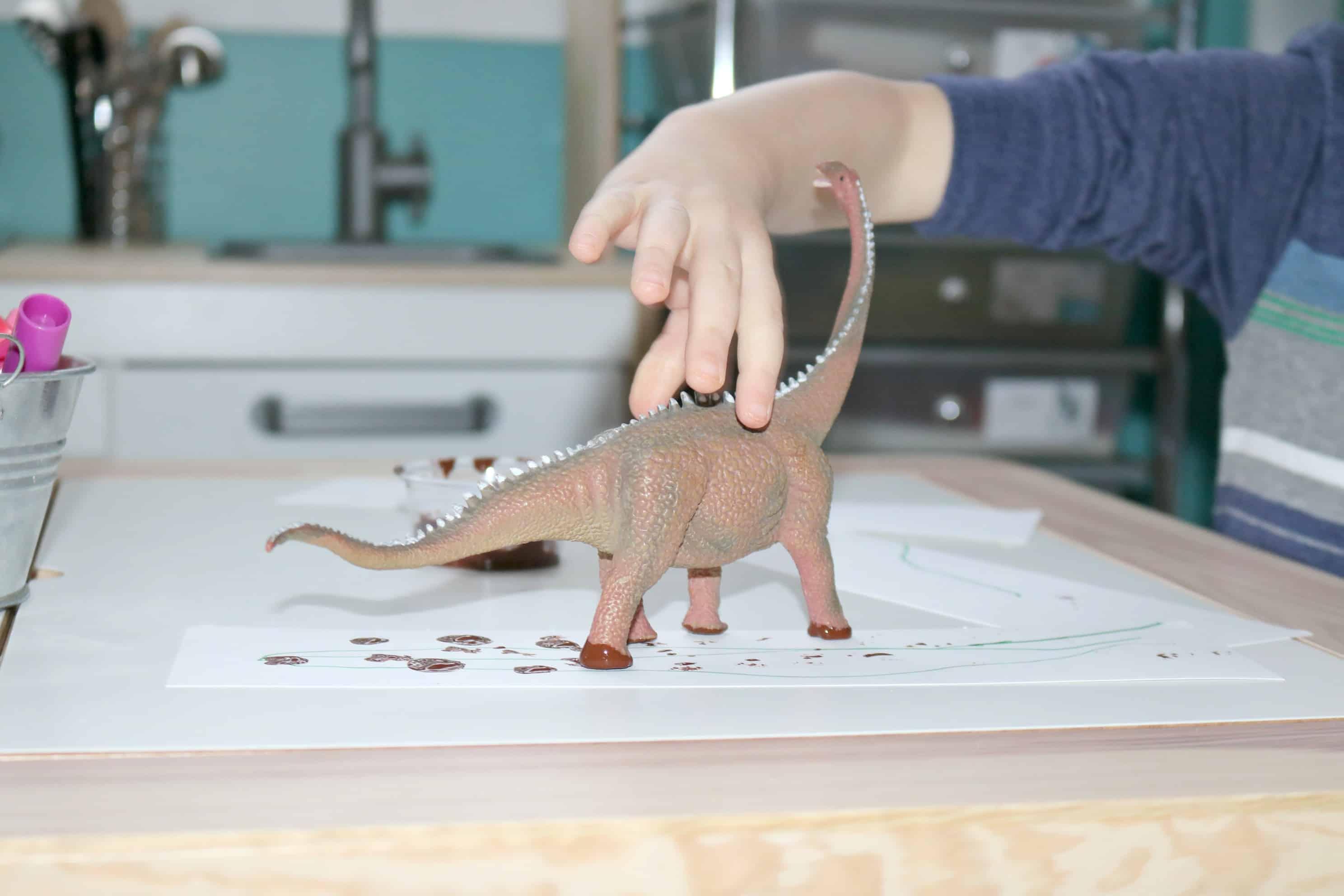 Making Dino Tracks Creative Art for Little Kids