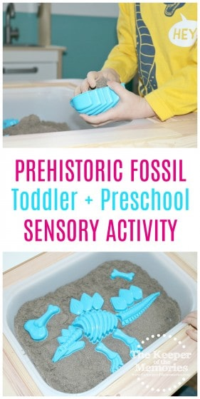 collage of dinosaur sensory bin images with text: Prehistoric Fossil Toddler & Preschool Sensory Activity