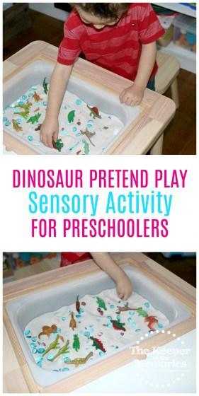 Cheap and easy dinosaur pretend play sensory activity for preschoolers... Check it out! #sensory #preschool #dinosaurs