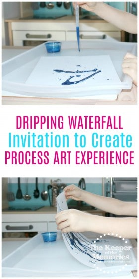 collage of dripping waterfall process art with text: Dripping Waterfall Invitation to Create Process Art Experience