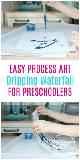 collage of dripping waterfall process art with text: Easy Process Art Dripping Waterfall for Preschoolers