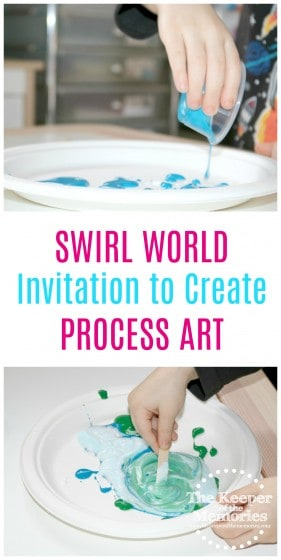collage of swirl painting process art images with text: Swirl World Invitation to Create Process Art