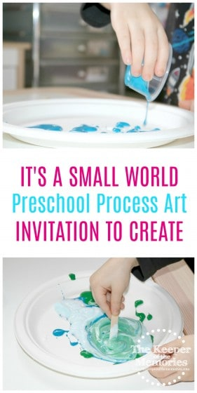 collage of swirl painting process art images with text: It's A Small World Preschool Process Art Invitation to Create