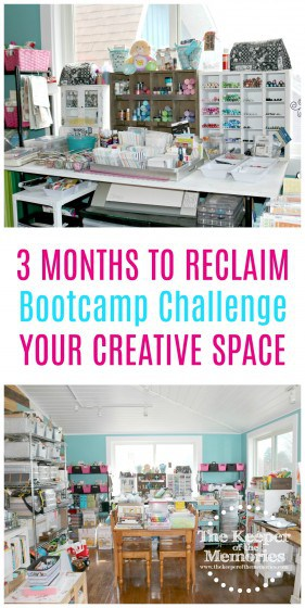 collage of cluttered craft room images with text: 3 Months to Reclaim Your Creative Space Bootcamp Challenge