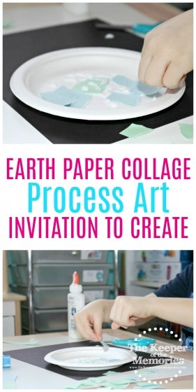 earth collage art images with text: Earth Paper Collage Process Art Invitation to Create