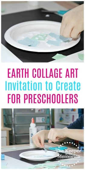 earth collage art images with text: Earth Collage Art Invitation to Create for Preschoolers