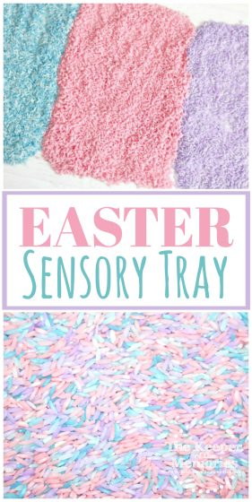 collage of rice sensory tray images with text: Easter Sensory Tray