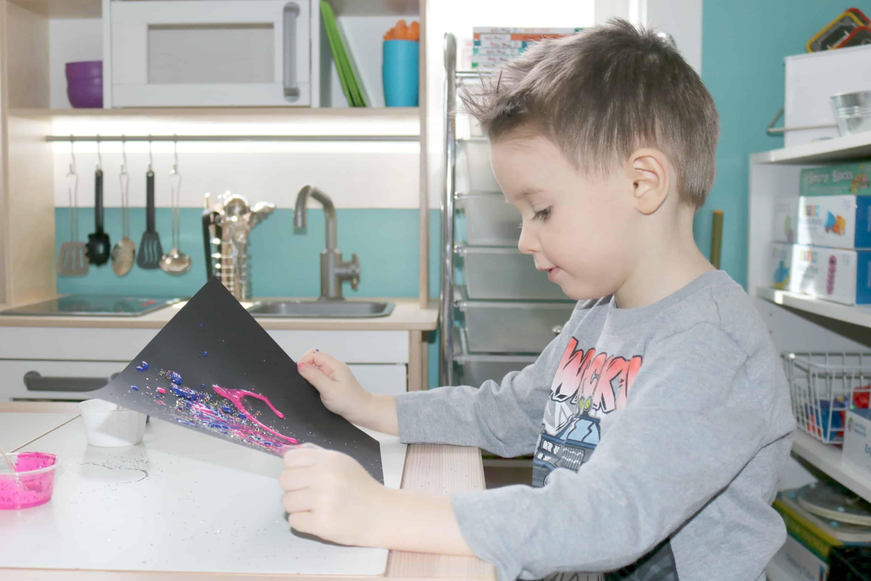 Glitter Space Art for Preschoolers