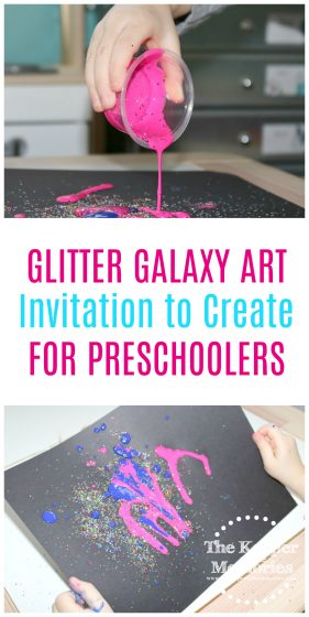 If you're in the process of putting together a preschool space theme, then look no further! Here's a fun and creative Glitter Galaxy Art Invitation to Create for little kids! You're definitely going to want to check it out!