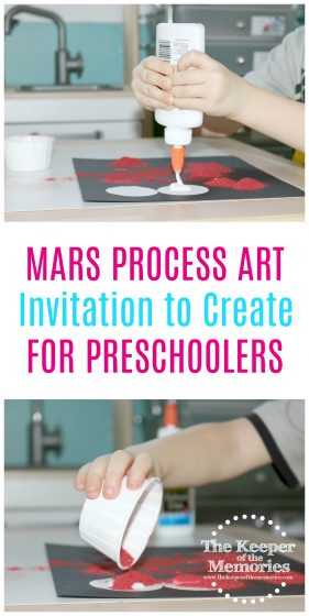 Here's an awesome idea for a preschool space unit. You can totally make Mars sand art and it's so quick & easy! Check it out! #space #preschool #craft