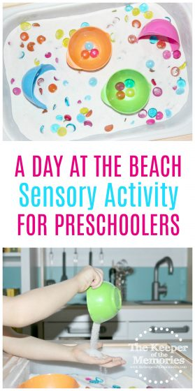 sand sensory bin images with text: A Day at the Beach Sensory Activity for Preschoolers