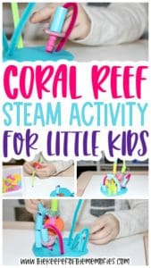 collage of Coral Reef STEAM images with text: Coral Reef STEAM Activity for Little Kids