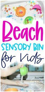 beach sensory bin images with text: Beach Sensory Bin for Kids