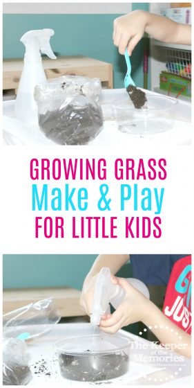 If you're brainstorming for a gardening preschool theme or even just exploring nature with your little kids, don't forget to check out this quick + easy growing grass gardening activity. #preschool #gardening