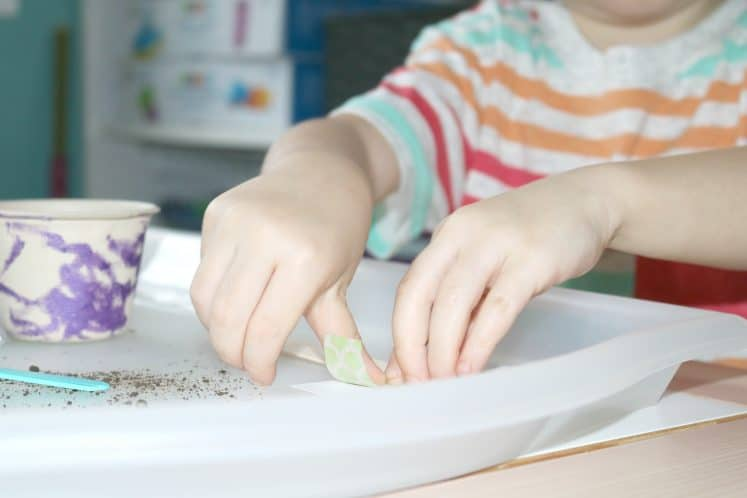 preschooler making plant label using tape and craft stick