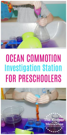 whale STEAM activity with text: Ocean Commotion Investigation Station for Preschoolers