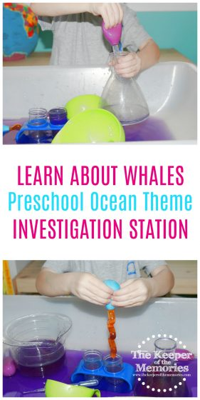 Here's a fun investigation station to go along with a preschool ocean theme. #preschool #ocean