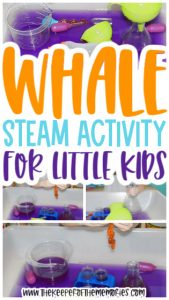 collage of whale STEAM images with text: Whale STEAM Activity for Little Kids
