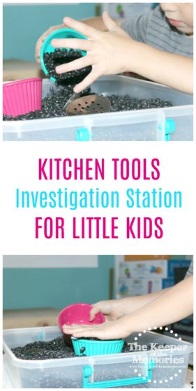 If you're putting together a fun homemaking-related preschool theme or even just looking for a sensory activity to go with your dramatic play center, then this one's for you. Here's a quick & easy kitchen tools investigation station. Check it out!